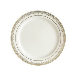 "Decor China-Like Prestige 9"" Cream-Gold Plastic Plates"