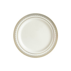 "Decor China-Like Prestige 7.25"" Cream-Gold Plastic Plates"