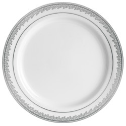 "Decor China-Like Prestige 10.25"" White-Silver Plastic Plates"