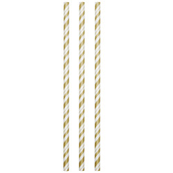 Flexible Gold and White Paper Straws