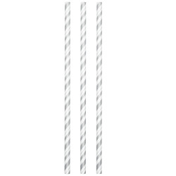Flexible Silver and White Paper Straws