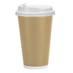 Double Walled Tan Paper 16 oz. Hot Cups