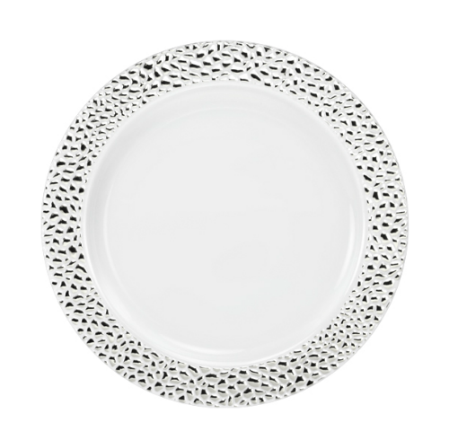 Lillian China-Like Pebbled Silver 7  Plastic Plates  sc 1 st  Partytrends.Ca & Lillian China-Like Pebbled Silver 7