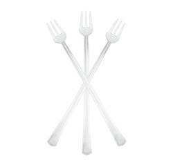 "Clear Plastic 6"" Cocktail Forks"