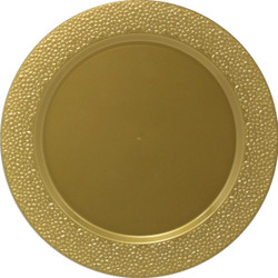 Décor Heavyweight Plastic Hammered Gold Chargers