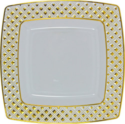 "Decor China-Like Diamond 9.75"" White-Gold Square Plastic Plates"