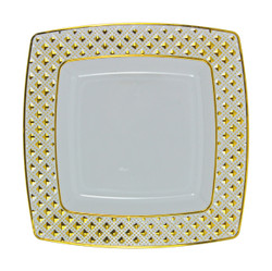 "Decor China-Like Diamond 7.6"" White-Gold Square Plastic Plates"
