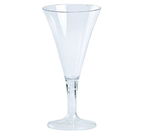Lillian mini martini glasses. Simple design is perfect for classy dinner parties or weddings. These glasses are made from heavyweight plastic. Sold in wholesale bulk and retail.