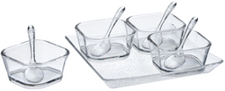 Lillian Acrylic Square Tray with Bowls and Spoons (Dishwasher Safe)