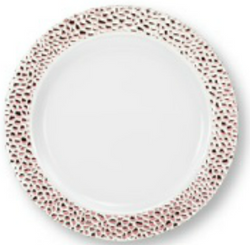 "Lillian China-Like Pebbled Rose Gold 10.25"" Plastic Plates"
