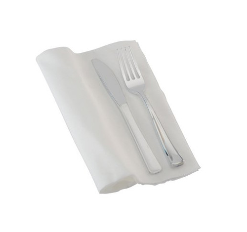 Create a beautiful tablesetting with the premade napkin rolls! The fork and knife resembles real silverware in its size, proportions, and finish. The beautiful polished silver cutlery is perfect for weddings and other special occasions. Made from heavy-weight plastic. Sold in wholesale bulk and retail.