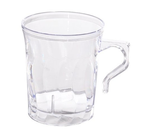Flairware mugs with scalloped design. Hard disposable plastic mugs that are great for hot or cold. Beautiful for weddings and other special occasions. Sold in wholesale bulk and retail.
