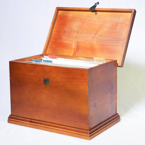 """Store important files and documents upto foolscap size (335mm/13"""" wide) securely with this stylish and elegant lockable wooden file box."""