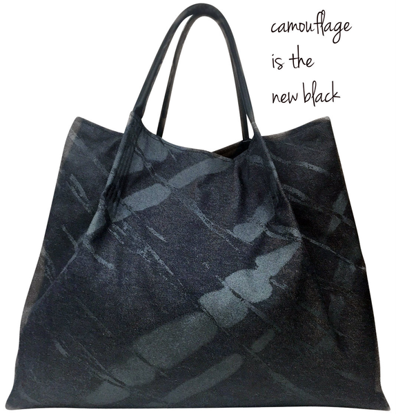 Black Camo Lola Tote | Trendy handcrafted handbags and totes for all seasons!  stylish fabric tote with leather top handle and 2 inner pockets! Take me Anywhere!