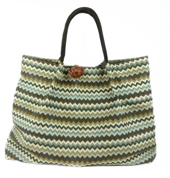 LOLA - Chevron Jacquard Cream Brown Grey Tan
