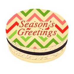 Chevron Season's Greetings Christmas Printed Macarons