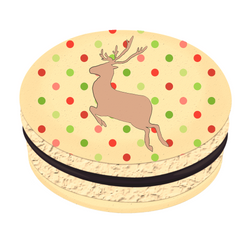 Brown Reindeer Christmas Printed Macarons
