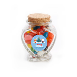 Merry Christmas 1 Christmas  Heart Glass Jar