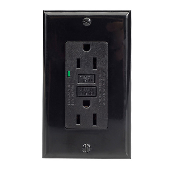 Magnadyne WC-120GFI-B | Safety Power Outlet (Black) - Front View