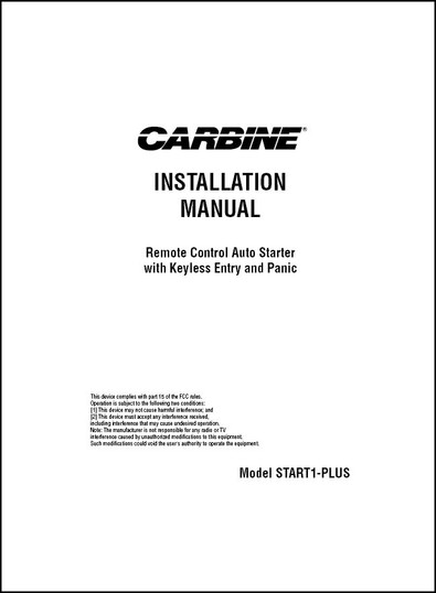 Carbine START1-PLUS | Installation Manual