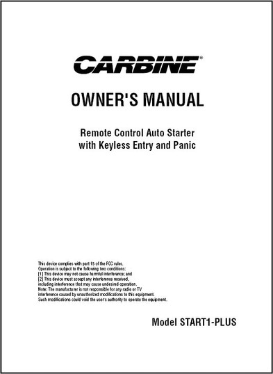 Carbine START1-PLUS | Owner's Manual