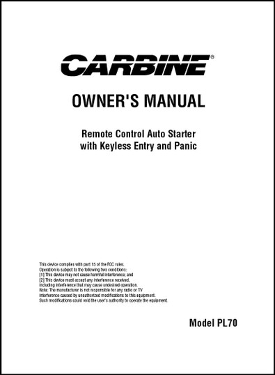 Carbine PL70 | Owner's Manual