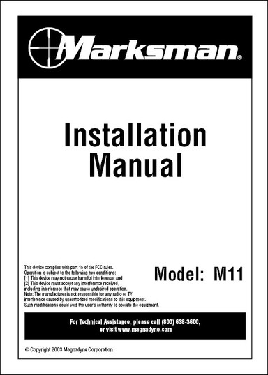 Marksman M11 | Installation Manual