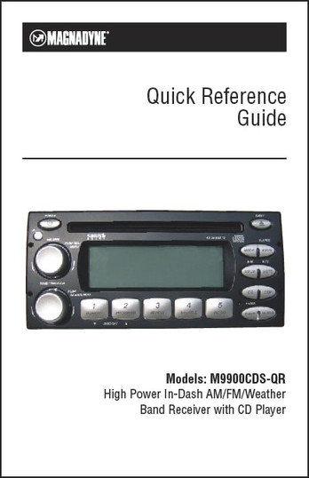 Magnadyne M9900cds Qr Quick Reference Guide
