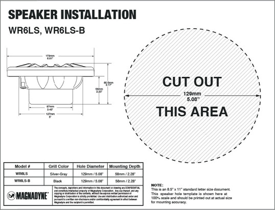 "Aquavibe WR6LS | 6 1/2"" 2-Way Waterproof Speaker - Installation Template"