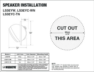 "Magnadyne LS3EYC-WN | 3"" Ceiling Mount Satellite Speaker (White) - Installation Template"