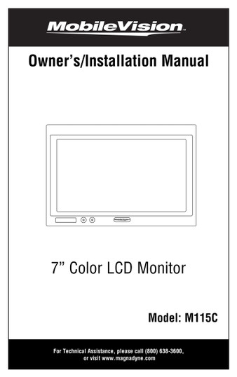 "Mobilevision M115C - 7"" Color LCD Safety Camera Monitor - Installation Manual"