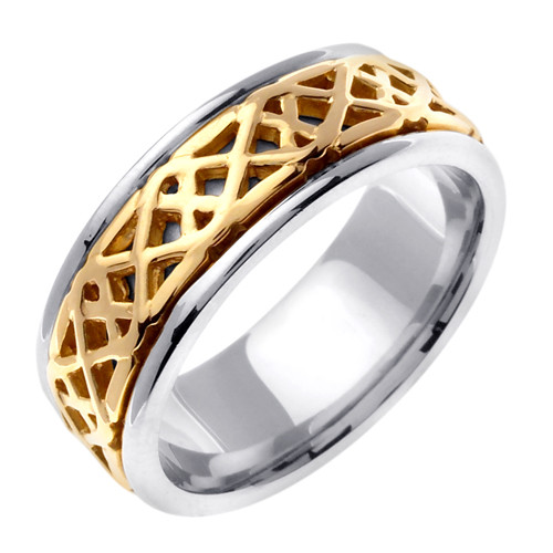 celtic wedding band 14k gold saighead or two tone ring - Celtic Wedding Ring