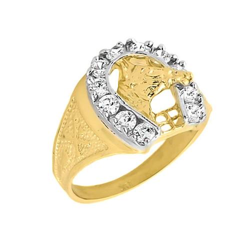 10k gold mens white topaz horseshoe ring - Horseshoe Wedding Rings