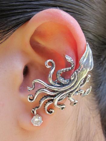 Kraken Squid Ear Cuff - Silver