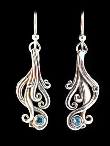 Cascade Earrings with Blue Topaz