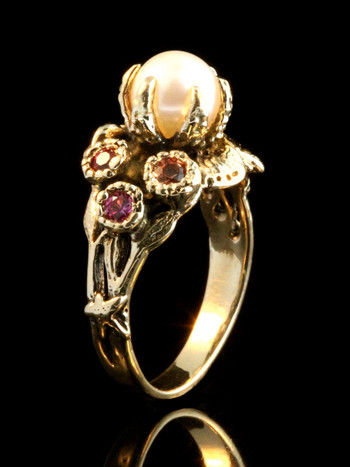 Atlantis Treasure Ring in 14k gold with white pearl, ruby, pink tourmaline and honey gold sapphire.