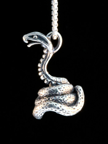 Coiled Cobra Charm -Silver