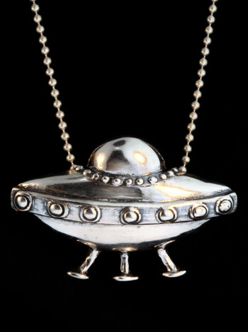 Flying Saucer Charm -Silver