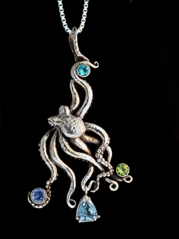 Large Octopus Pendant with Gemstones 2 - Silver