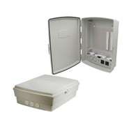 """Secure your wireless equipment...  Remote wireless equipment such as access points, routers and bridges often are more vulnerable to tampering and theft. This can disrupt and even cripple critical communications. A low cost solution for protecting and securing your wireless equipment is the HW-NA14-1. This rugged, weather-proof composite enclosure is ideal for both indoor and outdoor applications. The compact size of this enclosure makes it ideal for locations with limited space requirements such as equipment closets or mobile applications. Also due to its size, the HW-NA14-1 can be used where aesthetics are important, such as in offices and in public areas requiring HotSpots.  The 14"""" x 10"""" x 4"""" compartment features a removable power module with two 120 VAC outlets. This power module has provisions to install two additional outlets. Cable access to the inside of the enclosure is via three rubber cable glands located on the bottom. Equipment can be mounted inside the enclosure by using the included hook-and-loop tape. The raised lid features a continuous gasket and a quick release latch with provisions for a padlock. The enclosure material is UV stabilized molded ABS. Three gasketed mounting holes are provided inside the enclosure for easy installations.  Compact Weatherproof Molded ABS Enclosure Fully gasketed padlockable raised lid NEMA Type 3, 3X / IP55 rated Removable 120 VAC power module Heavy duty hook-and-loop tape for mounting equipment in enclosure"""