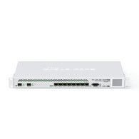New generation CPU  36 core CPU 1.2GHz clock per core 12 Mbytes total on-chip cache State of the art TILE GX architecture Highest performance  8 mpps standard forwarding 41.5 mpps fastpath forwarding(wire speed for all ports) Up to 28Gbit/s throughput Full set of features  1U rackmount case 8x Gigabit ports 2x SFP+ ports Color touchscreen LCD Ports directly connected to CPU Our fastest router has now become even better - the new CCR1036-8G-2S+ now has two SFP+ ports for 10G interface support (SFP+ module available separately). It uses the same 36 core Tilera CPU as our other CCR1036 model, and delivers the same performance, but now, ten gigabit links are possible.  The device comes in a 1U rackmount case, has two SFP+ ports, eight Gigabit ethernet ports, a serial console cable and a USB port.  The CCR1036-8G-2S+ has two SODIMM slots, by default it is shipped with 4GB of RAM, but has no memory limit in RouterOS (will accept and utilize 16GB or more). Also available now, the EM model with 16GB of RAM!