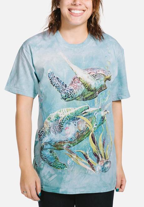 Sea Turtles Swim T-Shirt Modeled