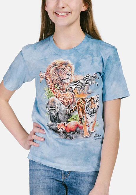 Zoo Collage Kids T-Shirt Modeled