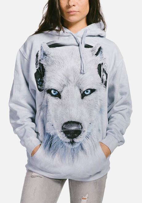 White Wolf DJ Hoodie Modeled