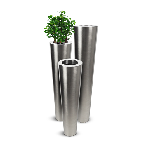 Stainless Steel Flute Planter - Satin Finish