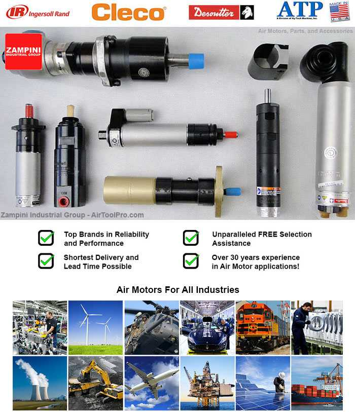 Pneumatic Air Motors from Cleco, Ingersoll Rand, Desoutter, and ATP. Suppliers Since 1985.