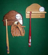 Baseball, Mini Bat, & Glove Holder Wall Display MBC 100