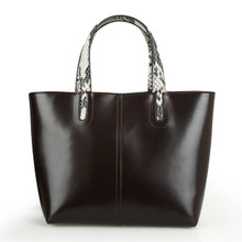 Women's Leather Tote, Detachable Pouch, Brown, Dark Brown