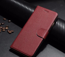 iPhone 7 Plus Leather Case, Flip Case, Genuine Leather Case, Wine Red