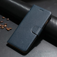 iPhone 7 Plus Leather Case, Flip Case, Genuine Leather, Navy Blue